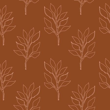 Terracotta art print. Abstract modern digital painting . Warm floral leaves. Contemporary vector seamless pattern.