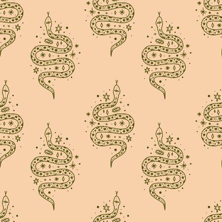 Magical cute snakes seamless pattern. Magic boho style. Vector art.
