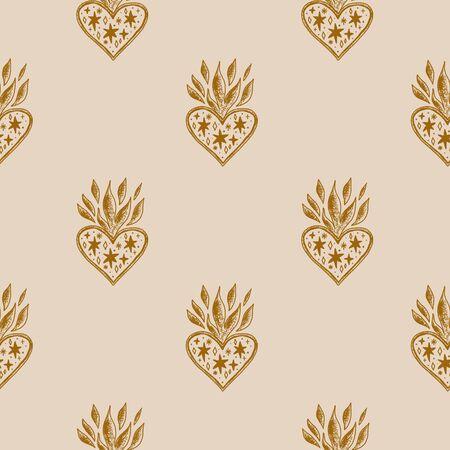 Sacred heart pattern. Trendy vintage love symbol, ornate style element. Spirituality, alchemy, magic. Vector clip art design.