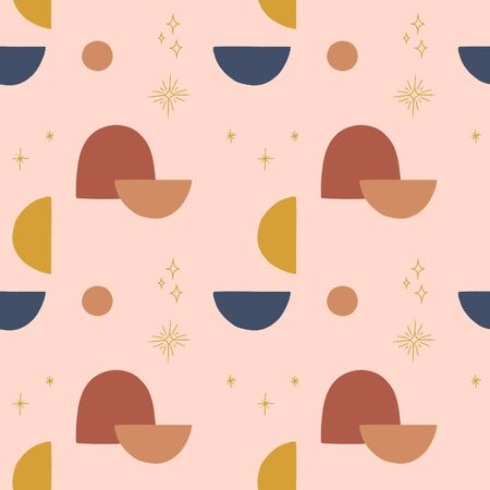Modern terracotta abstract seamless pattern. Vector smooth shapes illustration. Warm earthly palette. Vektorové ilustrace
