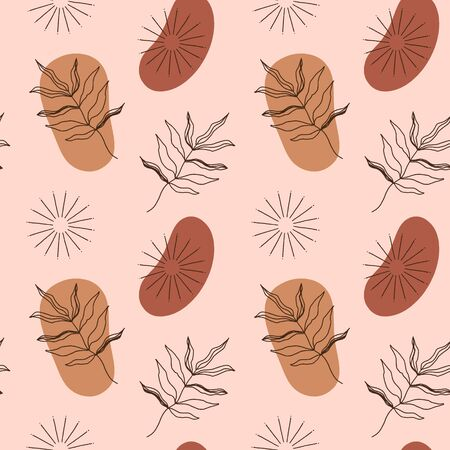 Modern terracotta abstract seamless pattern. Vector smooth shapes illustration. Warm earthly palette.