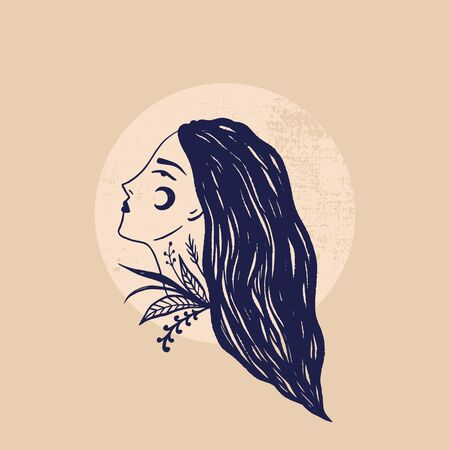 Wild moonchild girl. Face modern witch concept. Witchcraft female culture. Harmony and zen. Crescent moon magic symbols. Vector illustration.