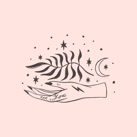 Tattooed hand yoga meditation art. Wild moonchild. Modern witch concept. Witchcraft culture. Harmony and zen. Crescent moon magic symbols. Vector illustration.