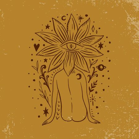 Hippie floral head moonchild. Modern boho concept. Flower culture. Harmony and zen. Crescent moon magic symbols. Vector illustration.  イラスト・ベクター素材