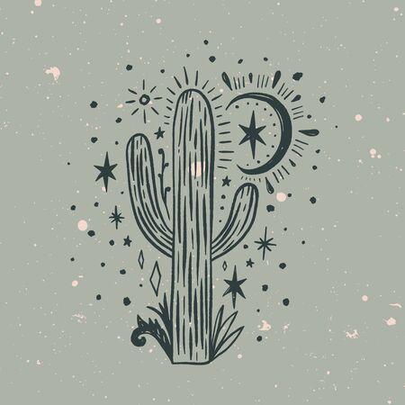 Wild cactus. Desert Arizona moonchild. Vintage concept. Mexico culture. Harmony and zen. Crescent moon magic. Vector illustration.  イラスト・ベクター素材