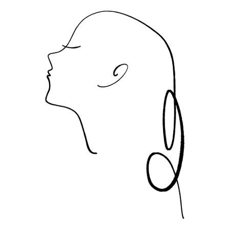 Line art girl profile. Continuous line drawing, fashion concept, woman beauty, minimalist vector illustration. Perfect for t-shirt design, art print.