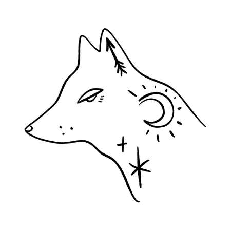 Wolf moon logo. Ornate animal. Modern witch concept. Witchcraft culture. Harmony and zen. Crescent magic symbols. Vector illustration.