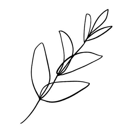 Minimalist plant. Single continuous art leaf branch. Eco natural design concept, one line, outline drawing, vector illustration.