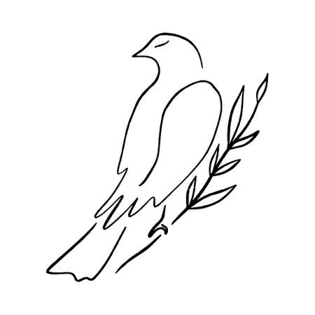 Line art dove. Sitting pigeon logo drawing. Black and white vector illustration. Good for greeting card, banner, flyer and poster. Ilustrace