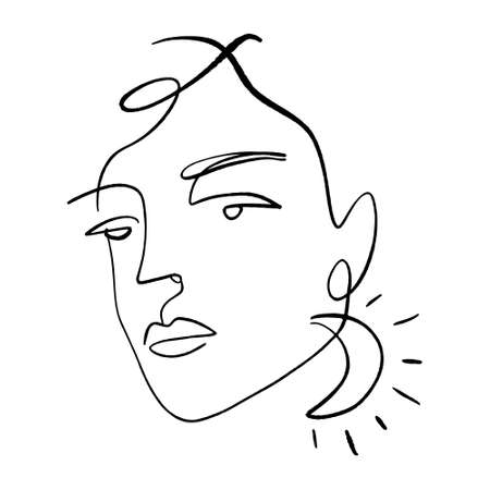Continuous line drawing face. Moon earring, hairstyle, fashion concept. Minimalist vector illustration, woman beauty. Perfect for t-shirt design, art print.