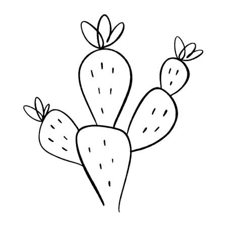 Simple icon cactus. One line drawing. House or wild cactus. Black and white clipart vector illustration.
