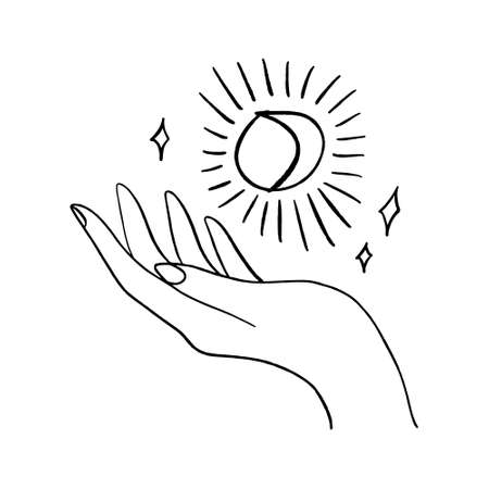 Hand and moon. Hand drawn style logo or icon. Fashion, beauty, skin care concept. Line art vector illustration. Illustration