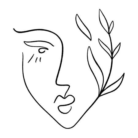 Line art woman. Self love and care concept. Continuous line drawing, fashion, beauty care minimalist vector, girl pretty face illustration. Perfect for t-shirt print. Reklamní fotografie