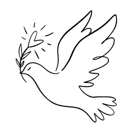 Line art dove. Flying pigeon logo drawing. Black and white vector illustration. Good for greeting card, banner, flyer and poster.