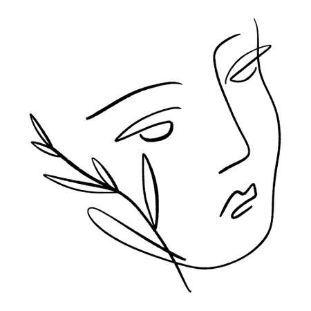 Line art woman. Self love and care concept. Continuous line drawing, fashion, beauty care minimalist vector, girl pretty face illustration. Perfect for t-shirt print. Ilustrace