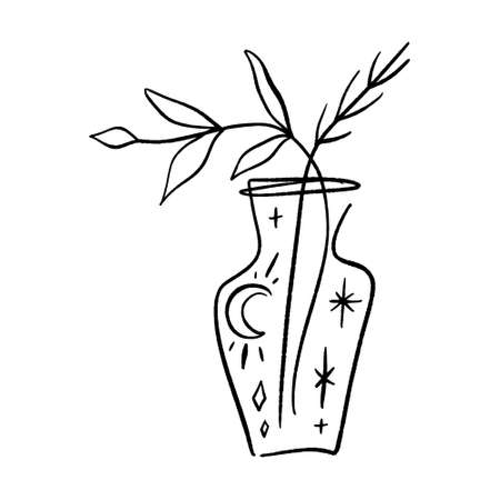Line art plant in pot. Contour drawing of vector set of black and white house plants sketches. Isolated potted florals illustration.