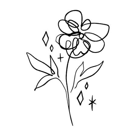 Minimalist line art flower. Poppy contour drawing. Vector artwork.