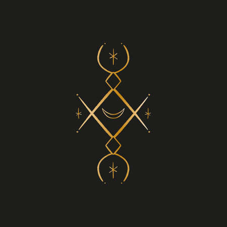 Sacred line geometric symbol with moon, gold figure on black background. Abstract mystic geometry. Vector illustration. Ilustrace