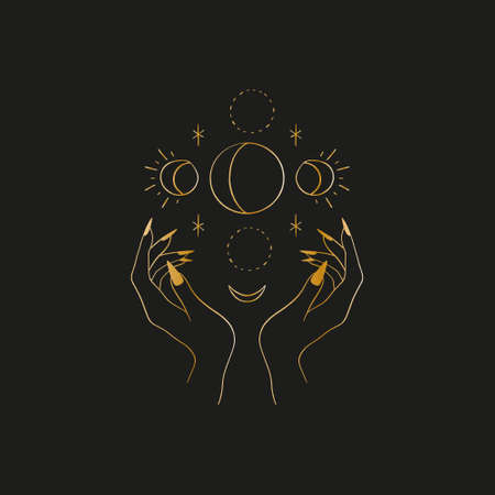 Sacred line geometric symbol with moon phases, gold figure on black background. Abstract mystic geometry. Vector illustration.
