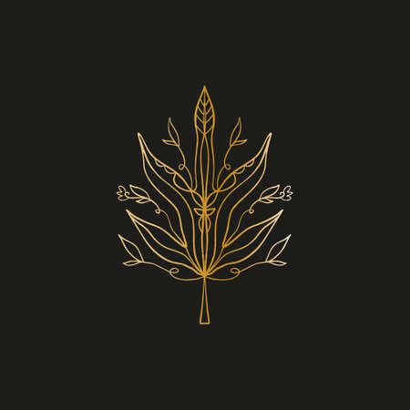 Sacred line geometric symbol with plant leaf, gold figure on black background. Abstract mystic geometry. Vector illustration.