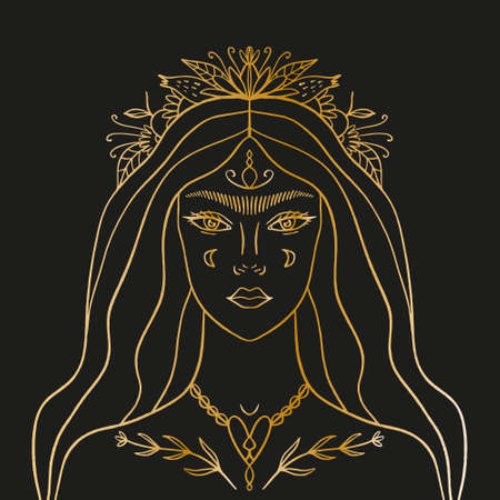 Moon flowers night goddess. Magic fairy, enchantress, shaman woman. Hand drawn portrait of a beautiful magical fairytale girl. Alchemy spirituality design concept, tattoo style. Gold artwork on black background. Vector illustration.