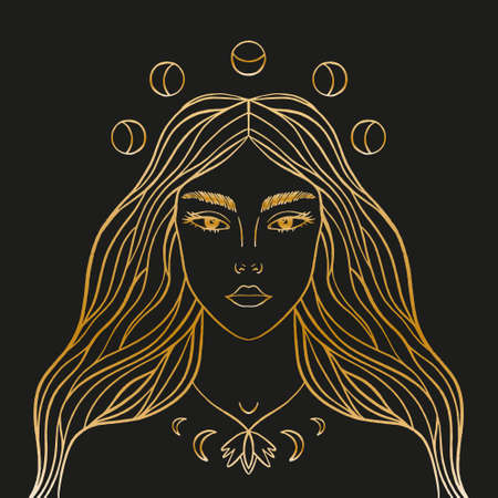 Moon night goddess. Magic fairy, enchantress, shaman woman. Hand drawn portrait of a beautiful magical fairytale girl. Alchemy spirituality design concept, tattoo style. Gold artwork on black background. Vector illustration.