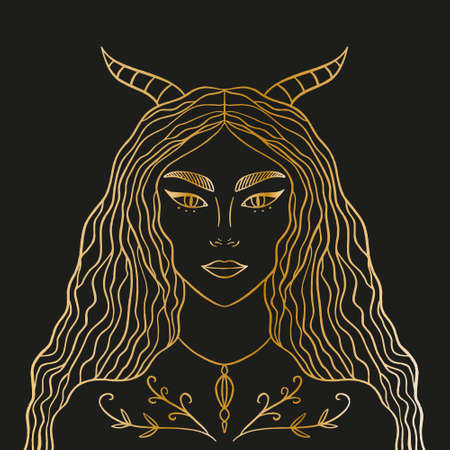 Horned night goddess. Magic fairy, enchantress, shaman woman. Hand drawn portrait of a beautiful magical fairytale girl. Alchemy spirituality design concept, tattoo style. Gold artwork on black background. Vector illustration.