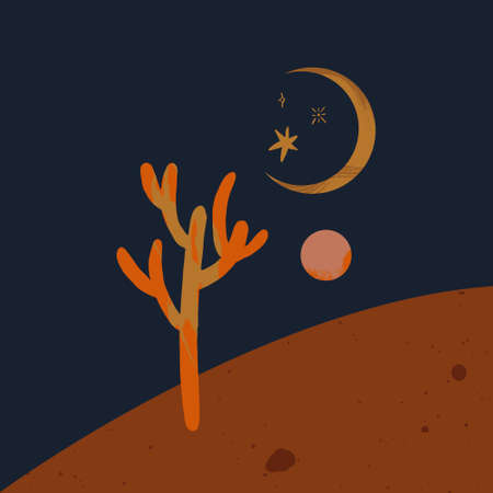 Warm moon desert cactus night landscape art