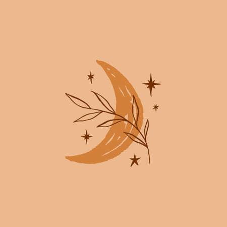 Boho hand drawn moon and plant leaf art 向量圖像
