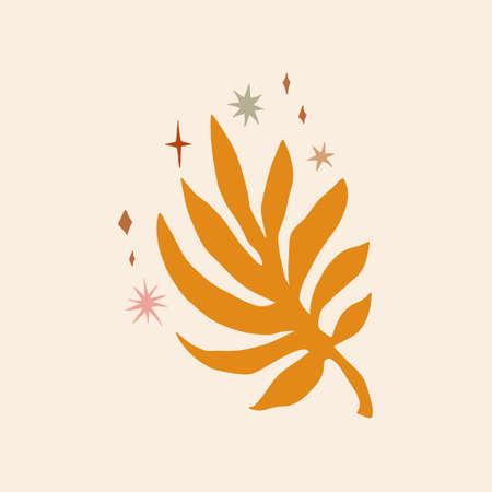 Plant leaf, orange flat figure on background. Minimal boho simple print design. Vector 向量圖像