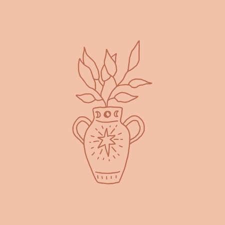 Terracotta vase art line boho clipart logo