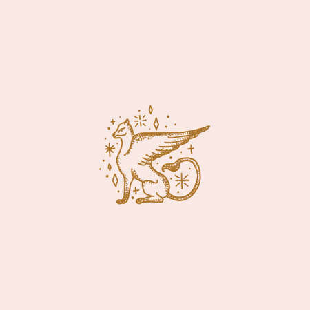 Magical logo medieval beast, fantastic animal art griffin