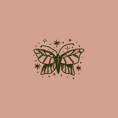 Boho magical vintage butterfly minimal logo sketch 向量圖像