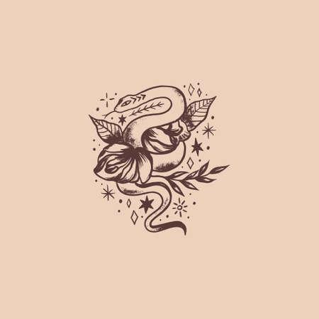 Boho vintage isolated snake and flower art