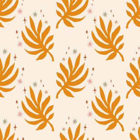 Plant leaf seamless pattern, orange flat figure on background. Minimal boho simple print design. Vector