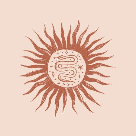Snake boho logo sun, engraving vintage style. 向量圖像