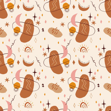 Warm abstract terracotta natural shapes seamless pattern
