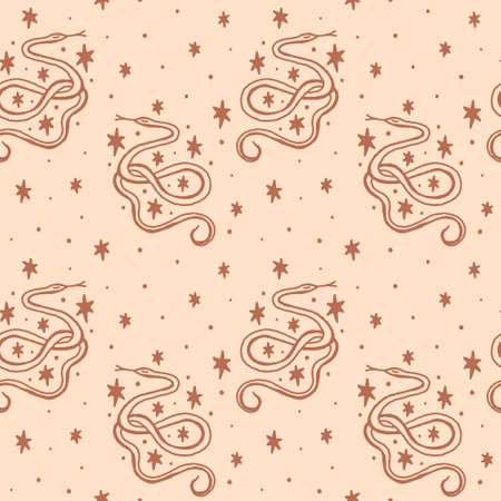 Magical boho snakes line art vintage style seamless pattern. Vector