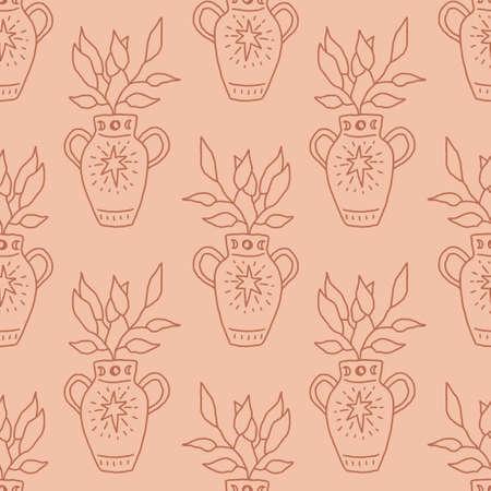 Terracotta vase art line boho seamless pattern