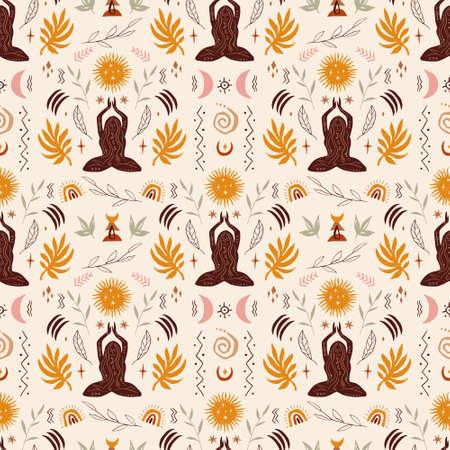 Yoga asana girl hand drawn seamless pattern 向量圖像