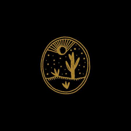 Boho Magical Logo or Label Night Desert Stylized Magical Engraving Landscape