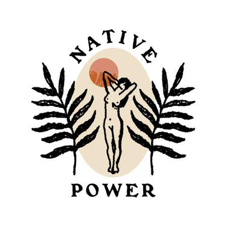 Antique Woman Body Boho Text Logo Label Elements Art Magic Natural Beauty Concept 向量圖像