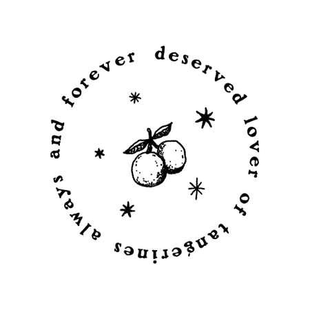 Text tangerines boho vintage text fruit organic logo or label