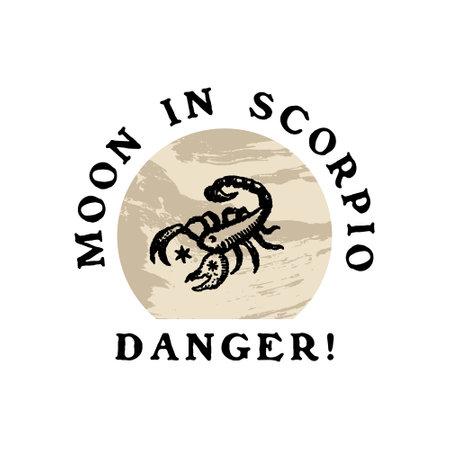 Text Boho Astrology Zodiac Sign Scorpio Logo or Label Clipart