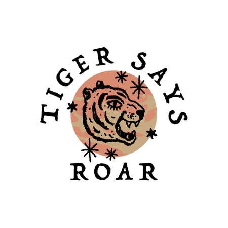 Vintage tiger logo or label art in vintage style 向量圖像