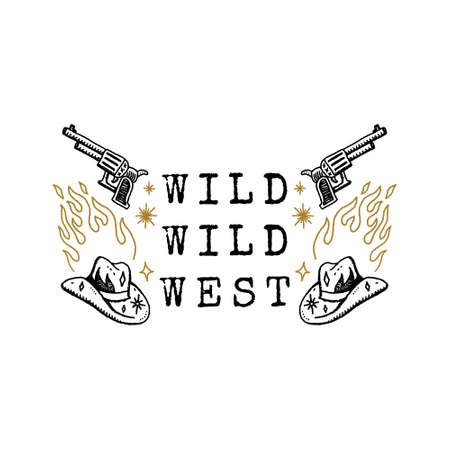 Vintage Western Hat Cowboy Gun Art Engraving Clipart