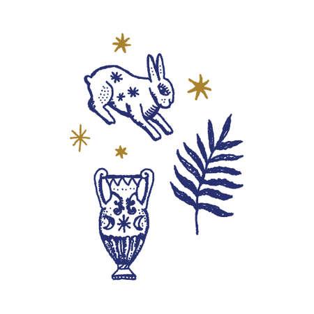 Magical Boho Clipart Greek Antique Logo or Labels Elements Magic Art