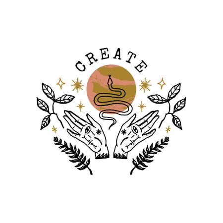 Magical moon hands boho snakes logo or label astrology art print 向量圖像