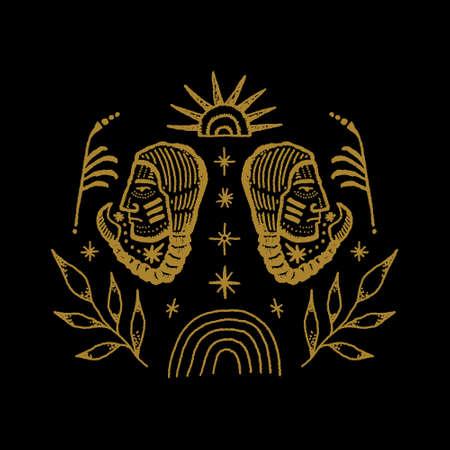Boho Abstract Symbols Navajo Boho Indians Engraving Vintage Distressed Style Art Label