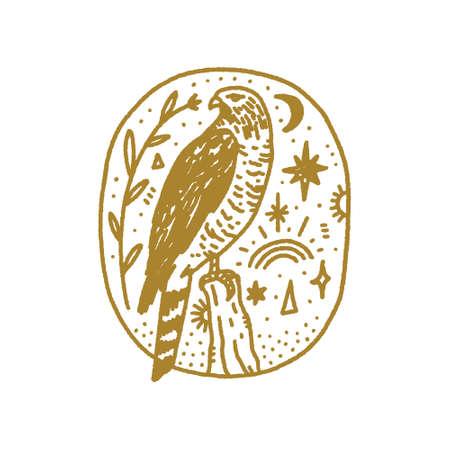 Bird of pray falcon boho magical vintage distressed art symbol or label